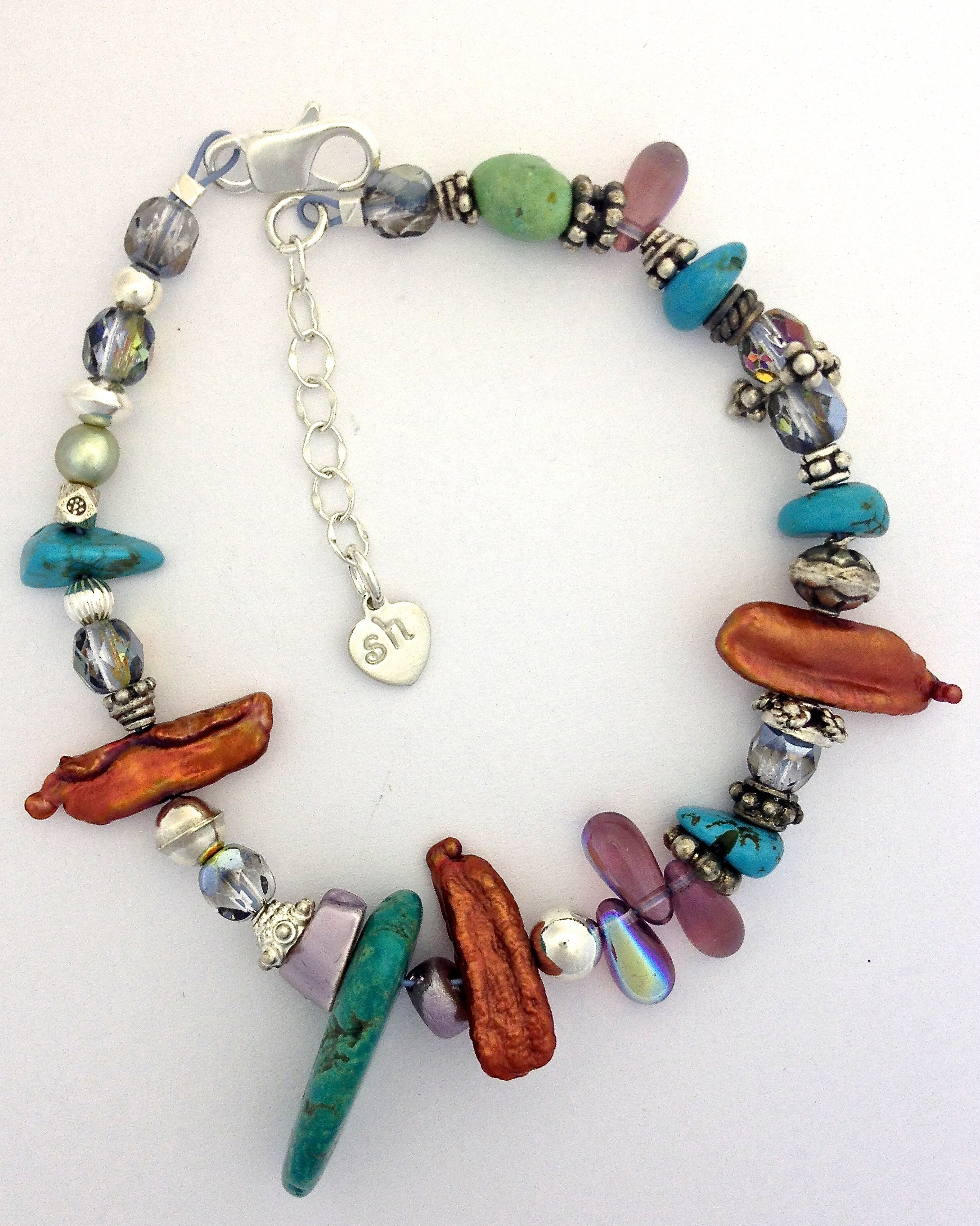 turquoise copper pearl bracelet sallyhoffmandesigns