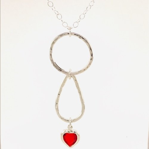 Teardrop Necklace w/Heart Crystal
