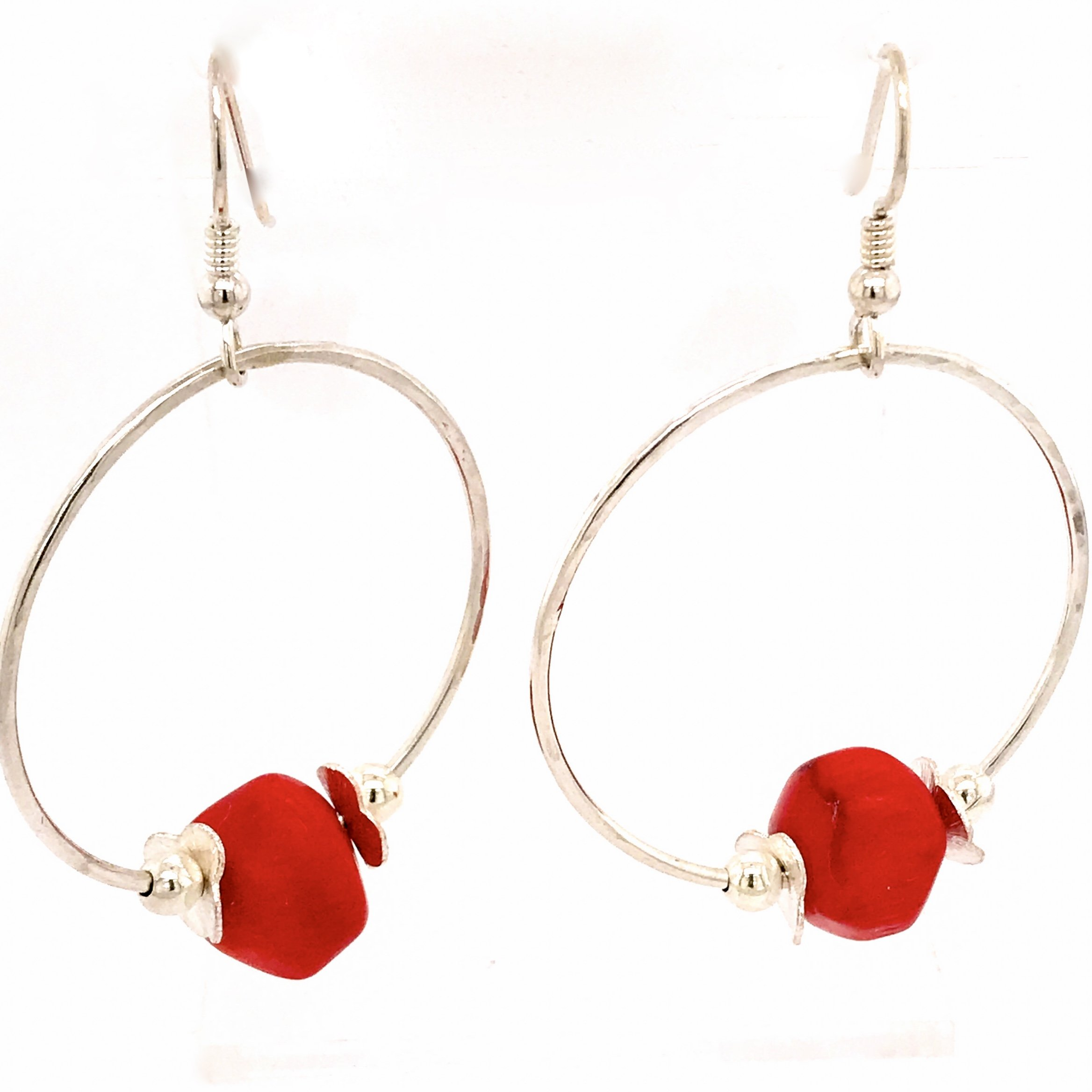 Sunset Orbit Hoop Earrings in Sterling Silver