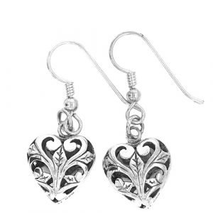 Sterling Silver Heart Charm Earrings with Open Scroll Work
