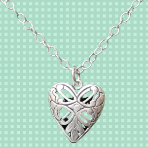 Scroll Work Heart Necklace