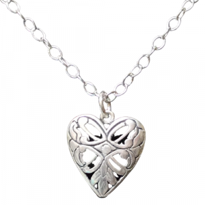 Open Scroll Work Heart Necklace