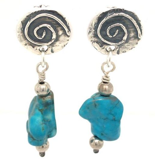 Sterling-Silver-Spiral-and-Turquoise-Earrings