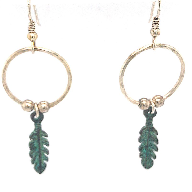 hoop-and-feather-earrings